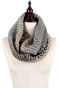 Boutique Taupe, Grey, Brown Neutral Ogee Pattern Knit infinity Scarf