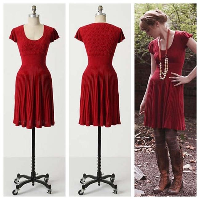 Anthropologie short dress Red Sparrow Lover Lover The Label Designer Couture Fashion Cocktail Knit Sweater Flattering Fit And Flare Midi on Tradesy