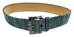 St. John NEW ST JOHN ULTRAMARINE MULTI-COLOR POLYURETHANE BELT CRYSTAL BUCKLE SIZE 2 S LEATHER LINING
