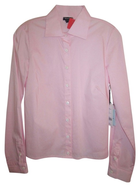 Preload https://item1.tradesy.com/images/worth-blush-pink-stretch-cotton-dress-shirt-long-sleeve-blouse-size-10-m-11996935-0-1.jpg?width=400&height=650