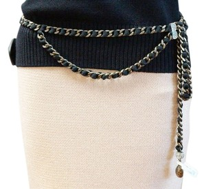 St. John ST JOHN CHAIN BELT GUNMETAL INTERLACED BLACK FABRIC RHINESTONE DRAPE ONE SIZE