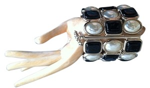 Chanel Chanel 2011 Bezel Set Pearl and Black Gripoix Cuff