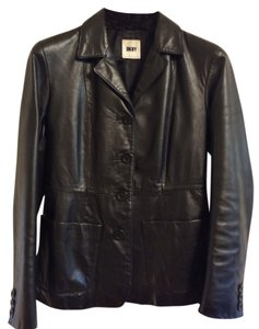 DKNY Leather Black Blazer