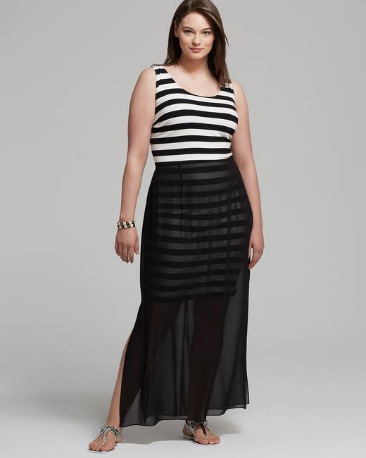 Black and White Maxi Dress by Vince Camuto Size 2x Striped Chiffon-overlay