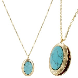 Other Gold Turquoise Natural Stone Oval Pocket Necklace