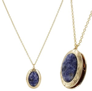 Other Gold / Sodlite Natural Stone Oval Pocket Necklace
