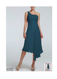 David's Bridal Peacock Chiffon Short One Shoulder Crinkle Style F15608 Formal Bridesmaid/Mob Dress Size 4 (S)