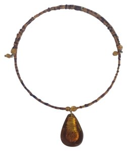 Boho chic amber color choker