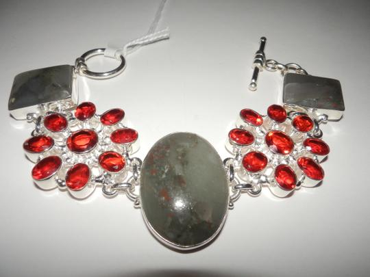 Other Moss Agate, Cherry quartz .925 Sterling Silver Bracelet