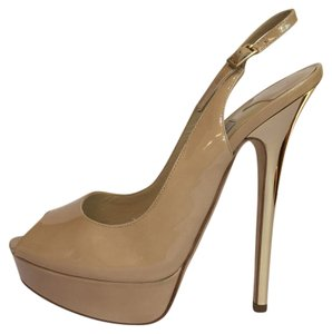 Jimmy Choo Nude patent / mirrored gold Platforms