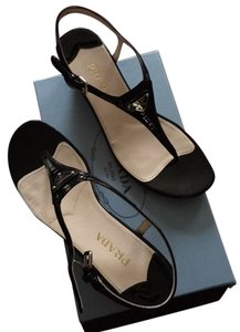 Prada Sport Beige Leather Black - Patent Sandals