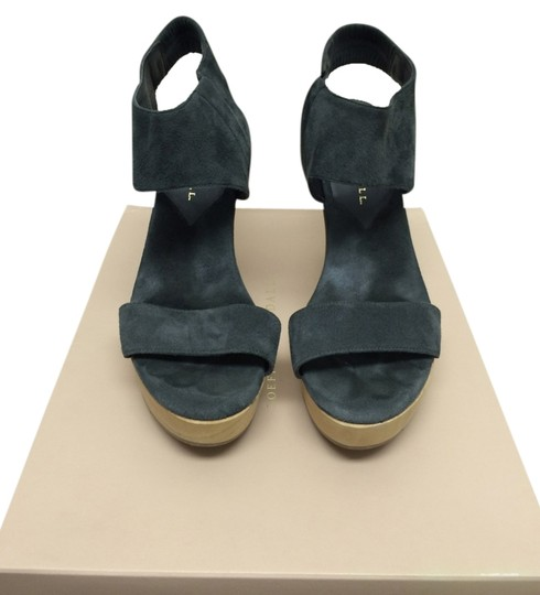 Loeffler Randall Suede Comfortable Stretchy Platform Grey Sandals