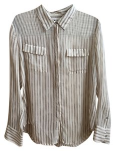 Broadway & Broome Madewell & Silk Button Down Sheer Top Cream