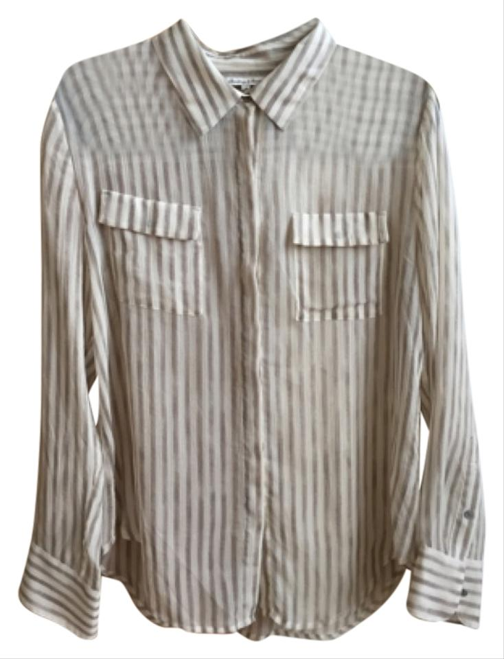 c1a85349514b3e Broadway   Broome Cream Striped Silk Blouse Size 8 (M) - Tradesy