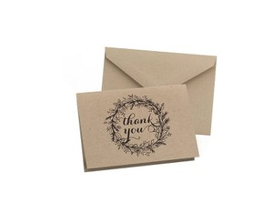 Hortense B. Hewitt Brown Wedding Thank You Cards 50 Count Floral Wreath Design Thank You Cards Rustic Theme Wedding Cards