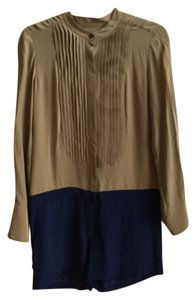 J.Crew Silk Olive Green Navy Short Mini Pleated Dress