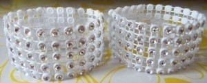 65 Rhinestone Silver & White Bling Wedding Napkin Rings Or Chair Sash Decoration