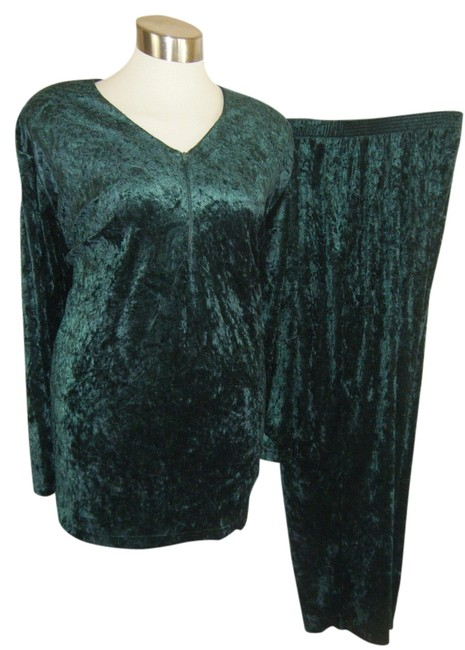 Item - Green Velour 3x Crushed By Ln Pant Suit Size 24 (Plus 2x)