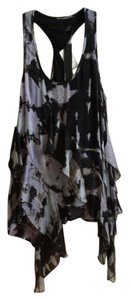Akiko Black Racerback Grey Print Silk Asymmetric Top Printed