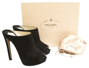 Prada Dustbag Open Toe Suede Black Mules