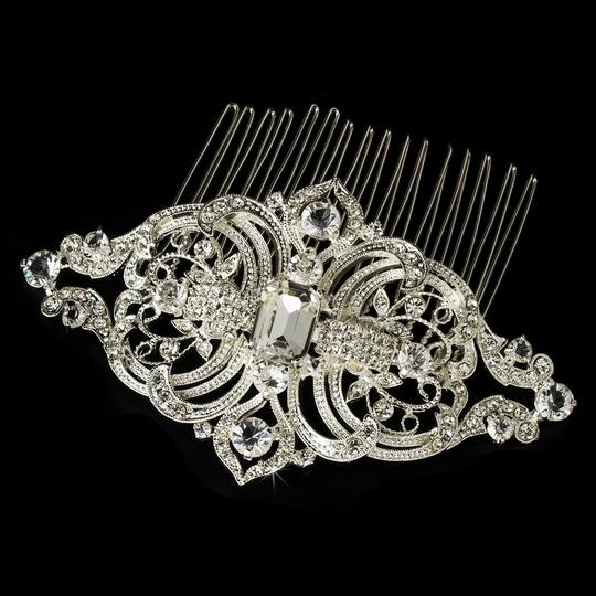 Elegance by Carbonneau Silver Vintage Look Rhinestone Comb Hair Accessory Image 2