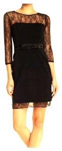 Aidan Mattox Mini Longsleeve Keyhole Lace Lace Trim Dress