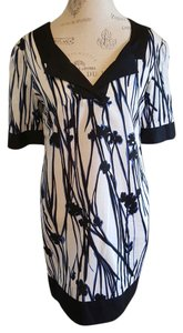 Laundry by Shelli Segal short dress White with blue Asian inspired floral print Shift Shift Short Sleeve on Tradesy