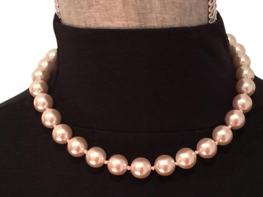 Other Light Pink Faux Pearls on Adjustable Pink Ribbon Necklace