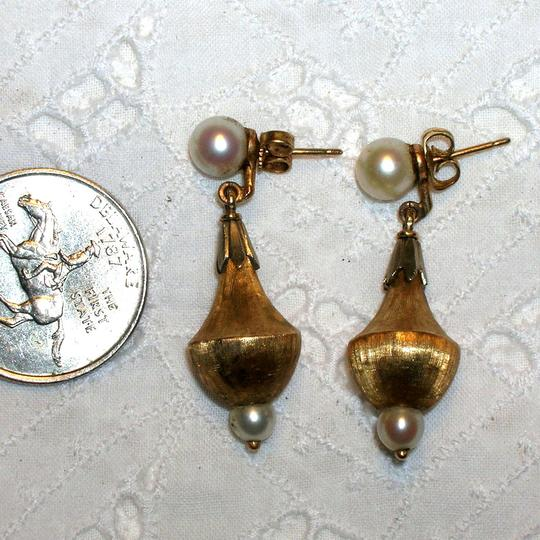 Antique Antique Edwardian Victorian 14k Gold Etruscan Cultured Pearl Drop Earrings