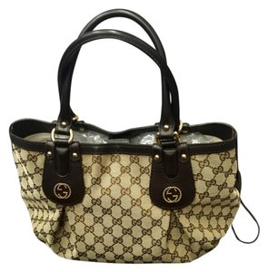 Gucci Leather Canvas Studded Hobo Bag