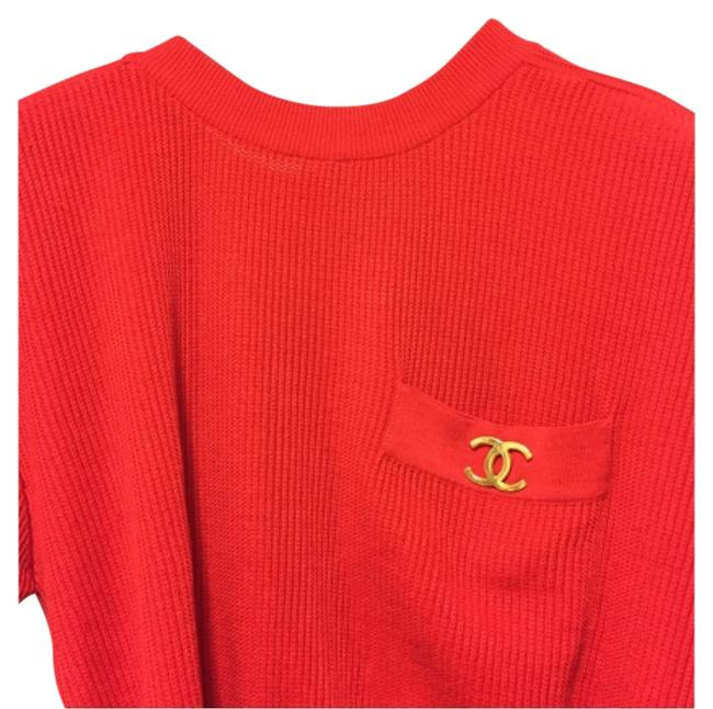 Preload https://item3.tradesy.com/images/chanel-red-knit-with-gold-tone-cc-brooch-sweaterpullover-size-6-s-12002797-0-1.jpg?width=400&height=650