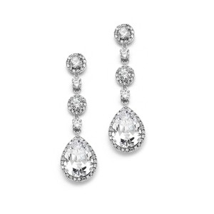 Glamorous Crystal Pear Drop Bridal Earrings