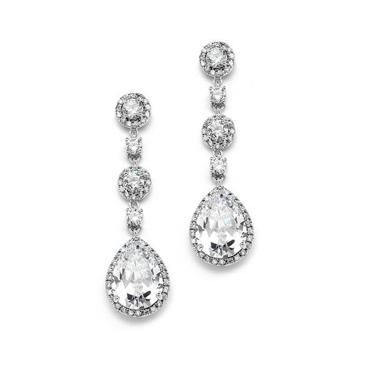 Silver/Rhodium Glamorous Crystal Pear Drop Earrings