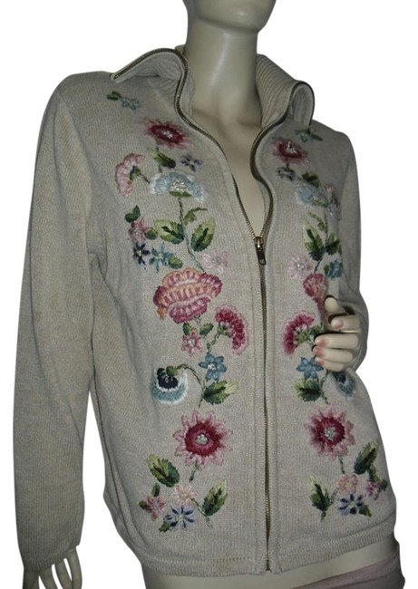 Preload https://item5.tradesy.com/images/beige-zip-front-multicolor-floral-bouquet-embroidery-cardigan-fashionista-style-boutique-sweaterpull-12002884-0-1.jpg?width=400&height=650