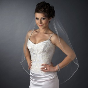 Elegance By Carbonneau Ivory Beaded Edge Fingertip Wedding Veil V2513