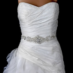 Elegance By Carbonneau Crystal And Pearl Beaded Wedding Dress Belt