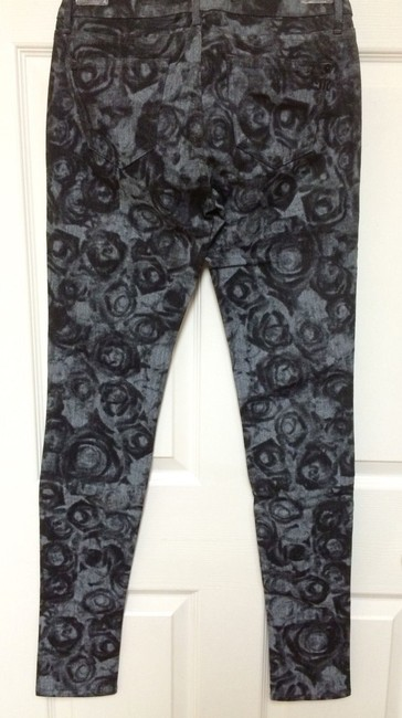 Miss Me Stretch Print Rose Denim Pants Skinny Jeans-Dark Rinse
