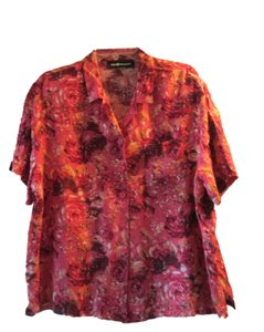 Sag Harbor Button Down Shirt Coral, black,orange and white floral design