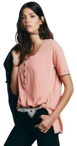 Free People We The Swing Longsleeve Henley T Shirt Salmon, Peach