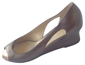 Bruno Magli Pewter. Silver. Bronze Wedges