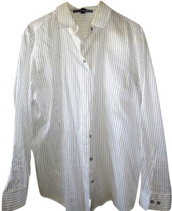 Ellen Tracy Career Wear Plus-size Silk Button Down Shirt White with Dark Grey Stripes