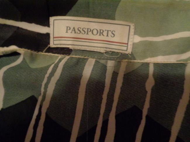 Passport Top Sage green and black with white design Image 3