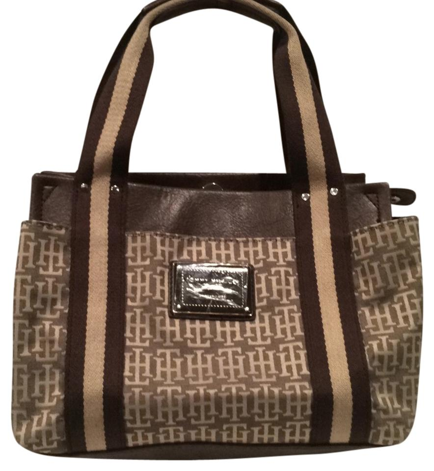b8ab3ecdc Tommy Hilfiger Small Tote Brown and Beige Baguette - Tradesy