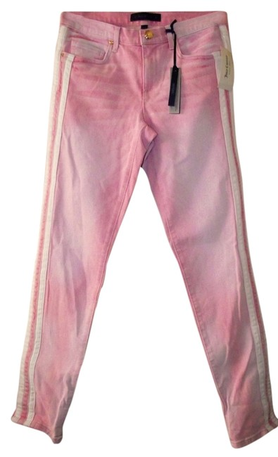 Item - Pink Light Wash Super with Stripes Casual Hipster 90s Style Skinny Jeans Size 24 (0, XS)