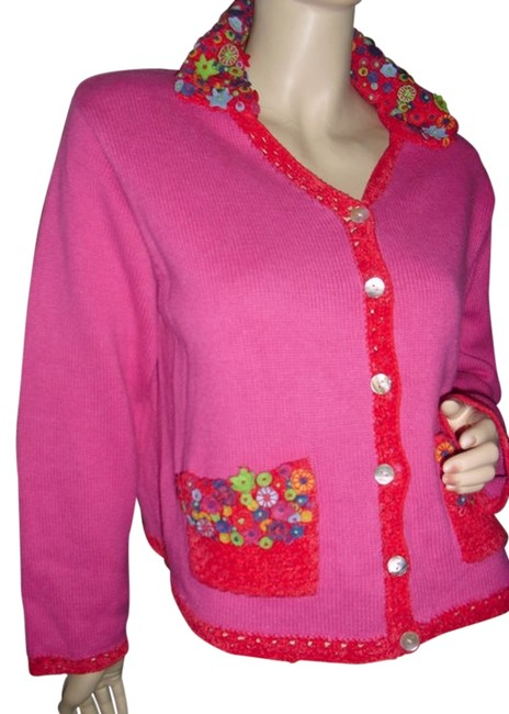 Preload https://item3.tradesy.com/images/marisa-christina-rose-pink-fuschia-cardigan-w-crochet-couture-unique-appliques-fashionista-style-bou-12005602-0-1.jpg?width=400&height=650