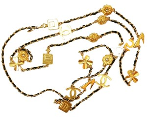 Chanel Authentic Vintage Rare Chanel 18K Gold Plated Signature Motif Leather Chain Necklace