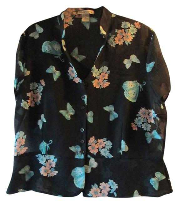 Notations Top black with turquoise and pink flowers and butterflies.