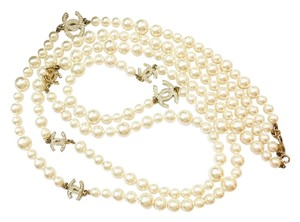 Chanel Authentic Chanel Gold CC Rhinestone 2 Strand Pearl Necklace