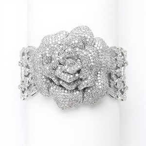 Mariell Spectacular Vintage Heirloom Rose Crystal Cuff Bracelet