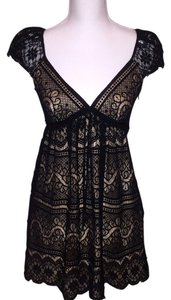 MILLY Of New York Cocktail Cocktail Lace Black Black And Nude Cutout Of New York Women's Cocktail Women's Silk Dress